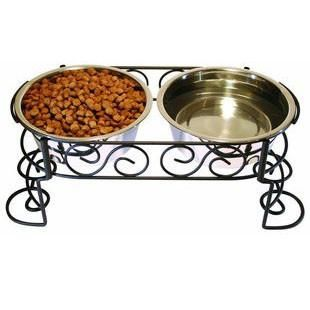 ETHICAL PET MEDITERRANEAN STAINLESS STEEL DOUBLE DINER 1 QUART - BD Luxe Dogs & Supplies