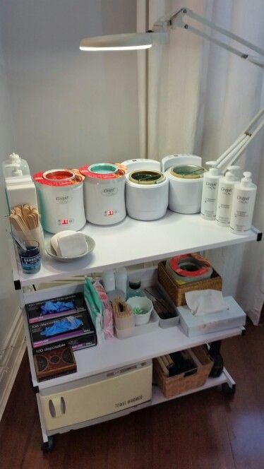 Trolley set up for our male waxing school training. Learn male waxing techniques using perron waxes. #malewaxing