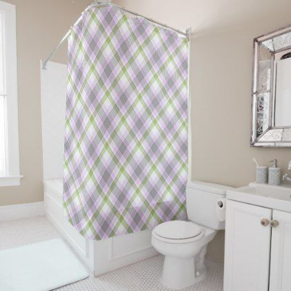 Pink Violet Purple Lime Green White Tartan Plaid Shower Curtain - trendy gifts cool gift ideas customize