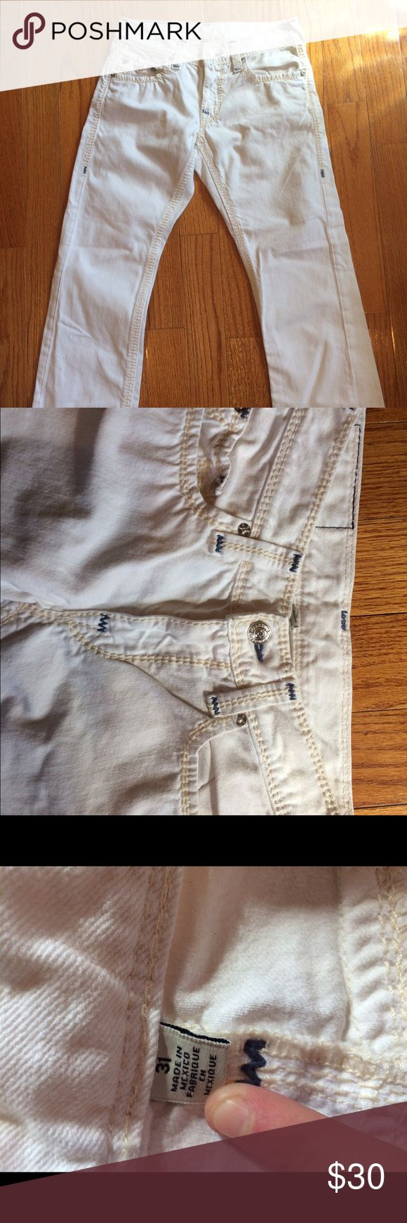 White True Religion Jeans Never worn true religion jeans. Cute to match with spring colors, straight legged True Religion Pants Straight Leg