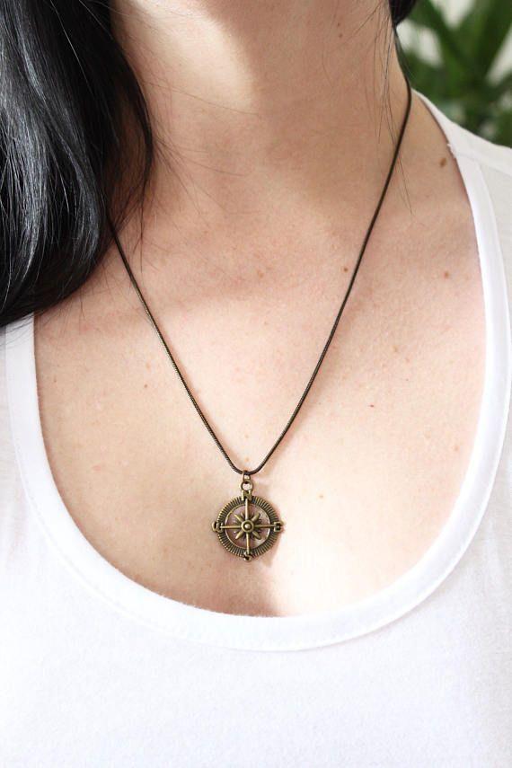 Antique gold/bronze Compass UNISEX necklace boho jewellery
