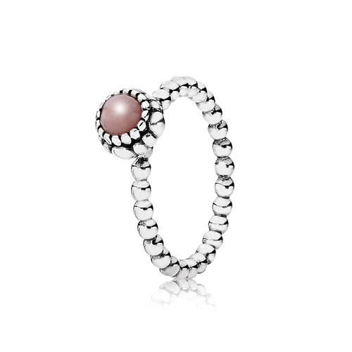 Pandora Silver and Pink Opal October Birthstone Stacker Ring. Part of the Pandora Stories collection. Stack your rings high with our range of Pandora Stackable Rings.