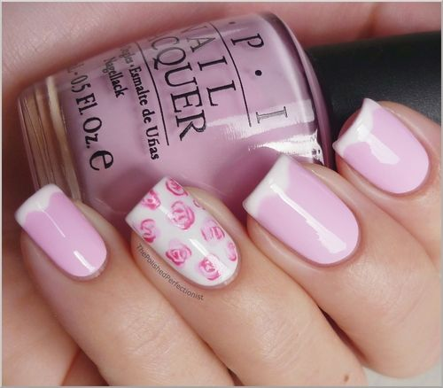 Rose tips, I like the white curved french & cotton-candy pink better.: Rose, Nail Polish, Nailart, Makeup, Nail Designs, Pink, Beauty, Nails, Nail Art