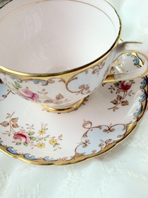 Vintage Fine Bone China/Tuscan Pastel Pink Tea by MariasFarmhouse, $75.00