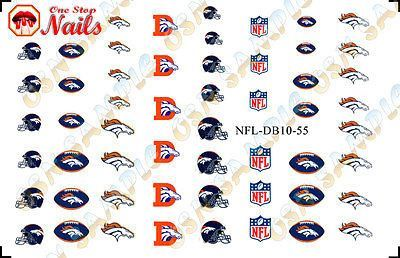 Set of 55 NFL Denver Broncos Nail Art Water Decals. TOP Quality. FAST SHIPPING!