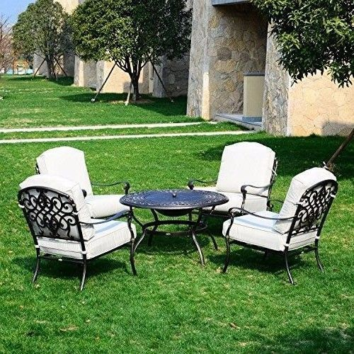 Garden Patio Set Chair Fire Pit Table Seating Cushioned Brown Beige Furniture #GardenPatioSet