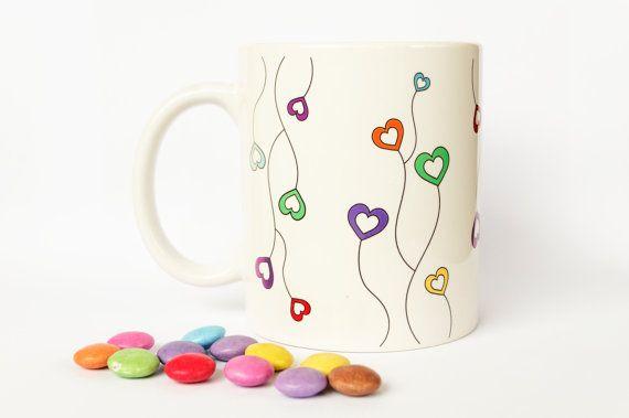 "Ceramic mug ""RAINBOW HEARTS""  https://www.etsy.com/listing/152363086  www.janinna-art.sk"