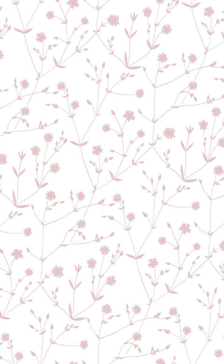 Marimekko Illalla Wallpaper Cream/Dusty Rose
