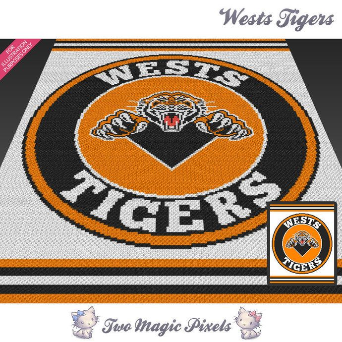 Wests Tigers crochet blanket pattern; knitting, cross stitch graph; pdf…