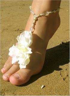 Flower Beach Wedding Footwear - http://casualweddingdresses.net/beach-wedding-ideas-be-a-stunning-beach-bride-on-your-own-beach-wedding/