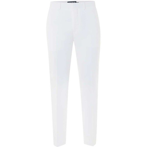 TOPMAN White Seersucker Textured Skinny Fit Suit Trousers (2,985 DOP) ❤ liked on Polyvore featuring men's fashion, men's clothing, men's pants, men's dress pants, white, mens skinny dress pants, mens skinny fit dress pants, mens seersucker pants, mens zipper pants and mens zip off pants