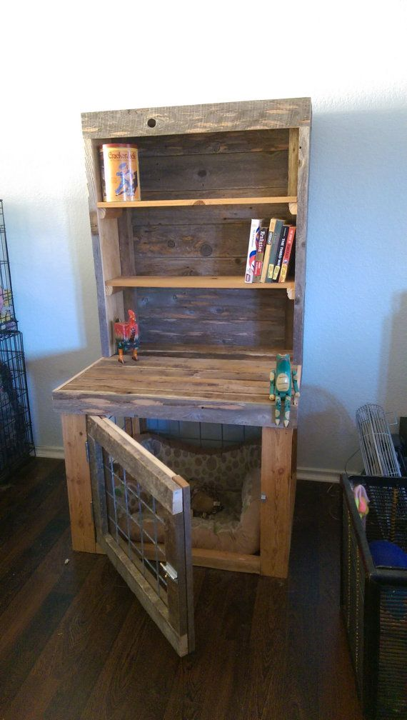Reclaimed Wood Bookcase with built in Dog by UpCycledSolutionsATX