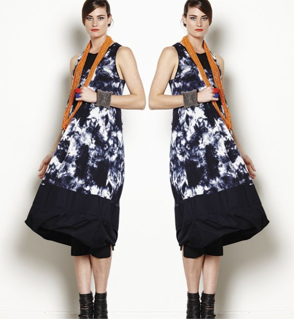 Our new Twist Hem Pinafore in Ink Cloud. Now available in all Nicola Waite stores!