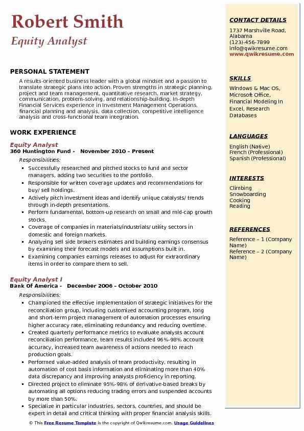 Equity Research Analyst Resume Unique Equity Analyst Resume Samples Quantitative Research Pharmaceutical Sales Resume Medical Sales