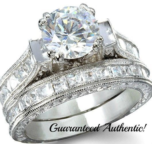 Sterling Silver 14k White Gold Wedding Set Round Brilliant Diamond Bridal Rings #notapplicable