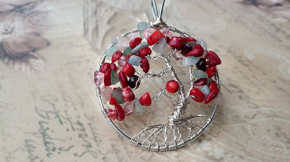 Coral Tree of Life Pendant/Chakra necklace/Gemstone by KnitHugs