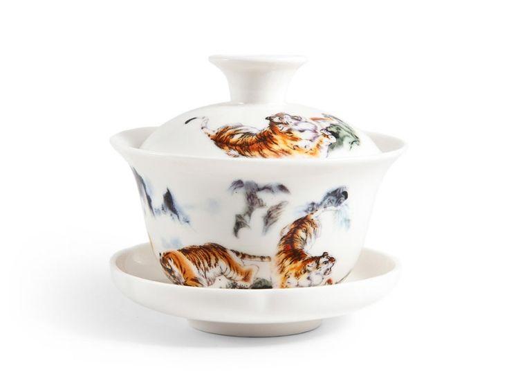Гайвань Тигры, 100 мл (фарфор) в интернет-магазине Чаек.ру http://www.4aek.ru/