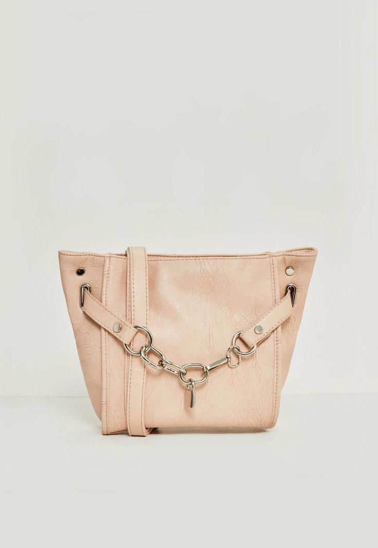 Missguided - Nude Chain Lock Cross Body Bag