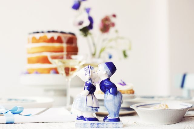 Bruiloft thema delfts blauw decoratie bruiloft