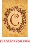 C - Vine / Berries Monogram Garden Flag
