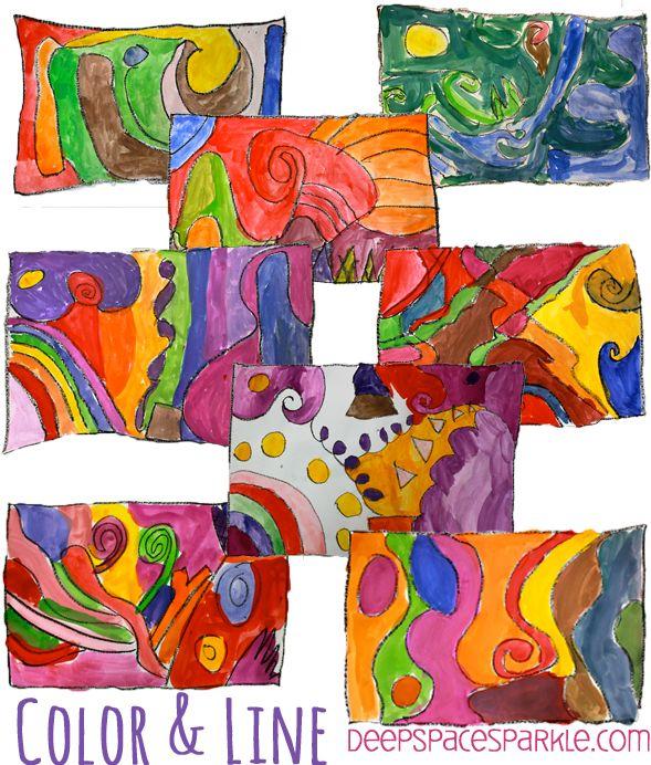 Line/Color-Art-Lesson- http://www.deepspacesparkle.com/2013/05/28/easy-color-line-art-lesson/