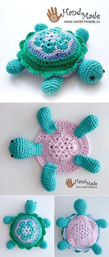 Черепашка Тина: вяжем крючком из мотива 'Африканский цветок'.