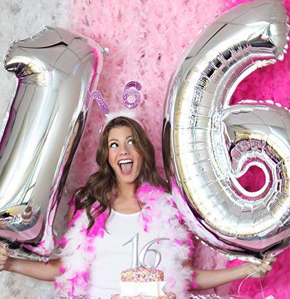 Mylar sweet 16 Birthday Balloons in Metallic Silver!