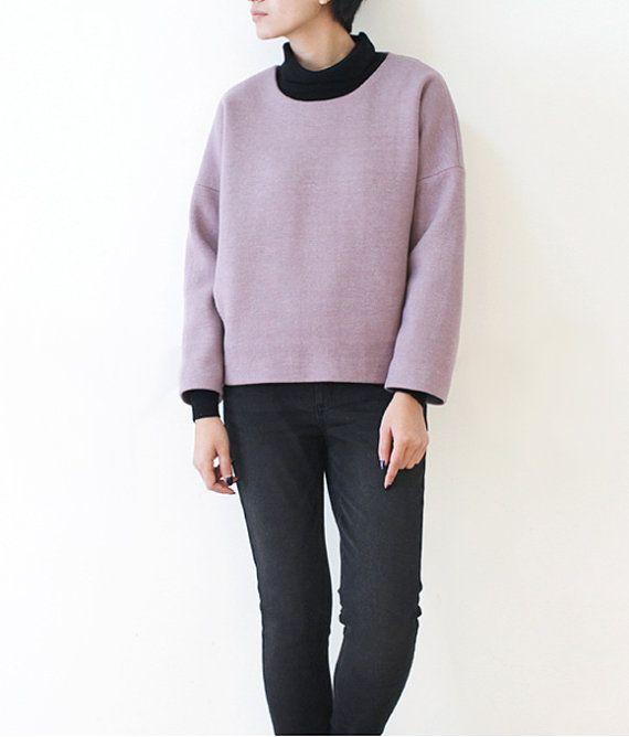 Womens Wool Crop Top Sweater Short Top Casual Loose by lanbao
