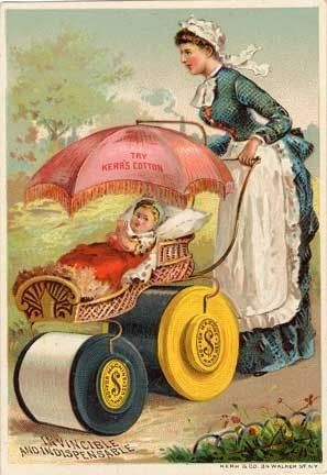 Trade Card Kerr's Thread Sewing Baby Carriage