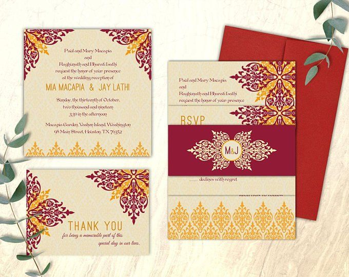 Poem Card and Rsvp with envelope MIA Wedding Invitation with Invite Card