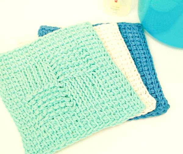 Practice your Tunisian stitches with this free Sampler Washcloth Pattern