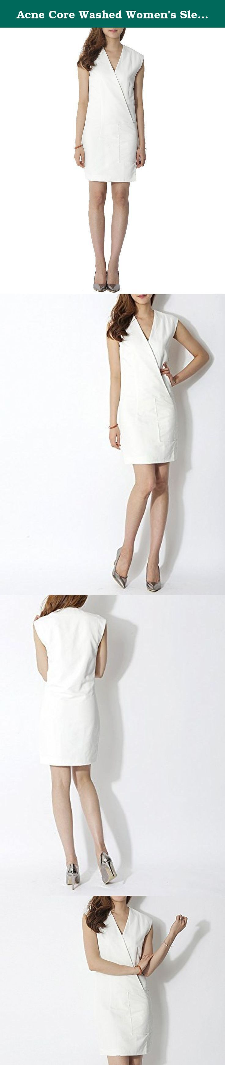 Acne Core Washed Women's Sleeveless Wrap Dress 34 White. [Size Info (inches)] Shoulder Width : 32) 16.5 / 34) 16.9 Bust : 32) 34.6 / 34) 35.4 Total Length : 32) 34.3 / 34) 35.0 Model is 5 ft 6 inches (170 cm) tall and wearing size 32 [Item Features] Exude that pristine goddess vibe when you wear this chic white wrap dress. Designed with v-neckline, sleeveless, zip-up side fastening, one large patch pocket and a sultry thigh length hem. Keep it modern and flawless with your metallic…