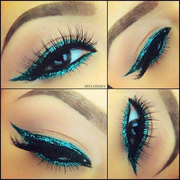 Emerald Green Eyes by @missmaes in Motives Khol Eyeliner(Green Envy)!   #Green #Emerald #Beauty