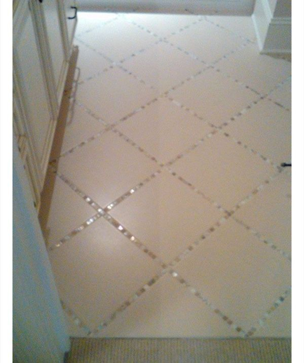 Glass Tiles Instead Of Grout In The Bathroom Tile Floor | DIY Home Decor Ideas on a Budget | Click for Tutorial | DIY Home Decorating on a Budget by Hasenfeffer