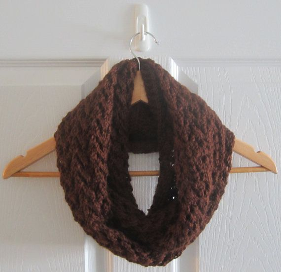 A chocolate brown scarf, knit by hand in a pretty lace pattern. This infinity scarf is delightfully soft & light! www.itsCOWLdoutside.etsy.com  #scarf  #infinity  #handknit