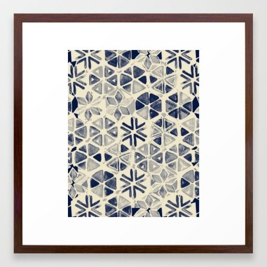 Hand Painted Triangle & Honeycomb Ink Pattern - indigo & cream Framed Art Print