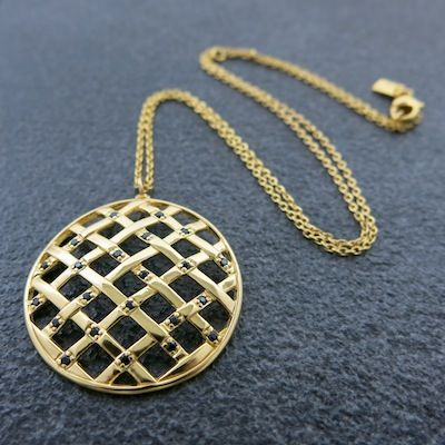 Weave Large Ball Hollow Pendant in Gold Vermeil with Black Spinel gemstones.