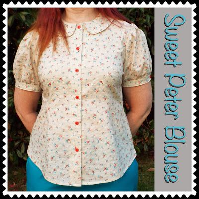 a button up blouse with peter pan collar and puff sleeves