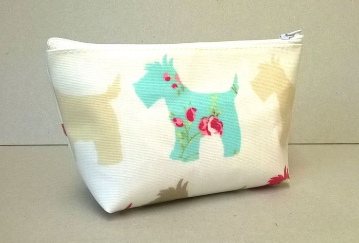 Make up bag in cream with scottie dogs, oilcloth cosmetic bag, make up storage, zipped pouch, ladies cosmetic bag, by KernowClaire on Etsy