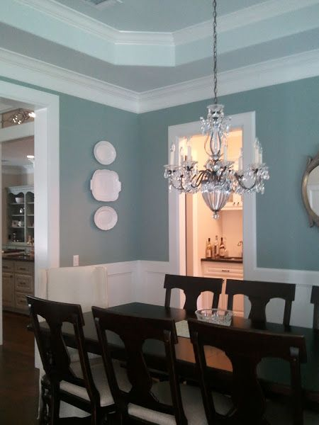 They are all Sherwin Williams...and on the same strip #31...So easy! The Gorgeous Dining Room Walls: SW6213 Halcyon Green