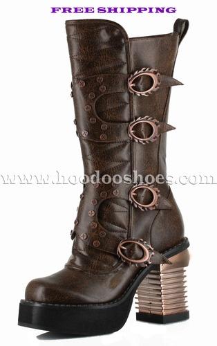 Hades Shoes Steampunk Harajuku Brown Boots