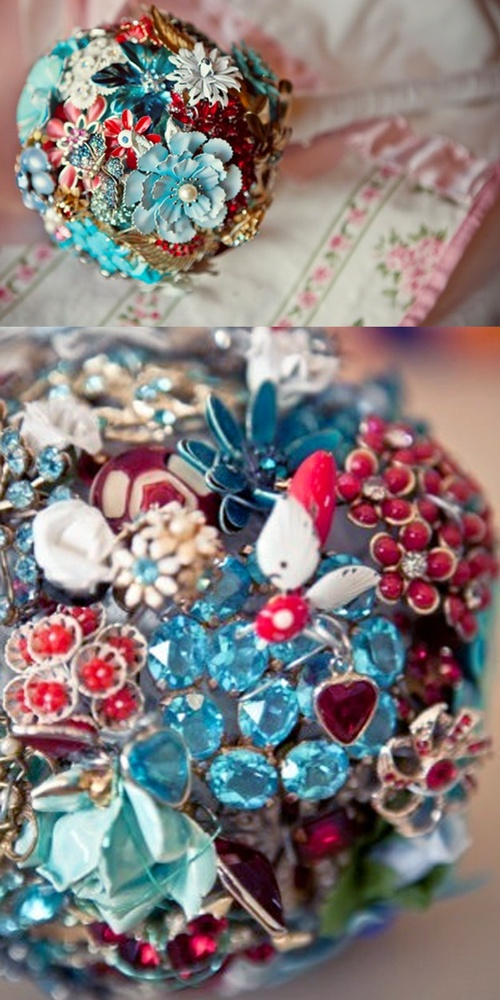 red and aqua brooch bouquet. I would make this for a christmas ornament.