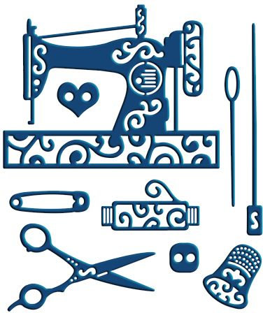 Tattered Lace Dies - Her Sewing Embellishments (9 pc)