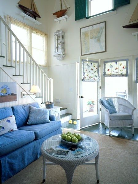 white and blue nautical style stair, entry way