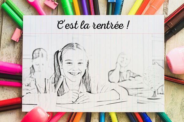 Montaje fotografico Volver a la escuela con la imagen de dibujos animados - Pixiz