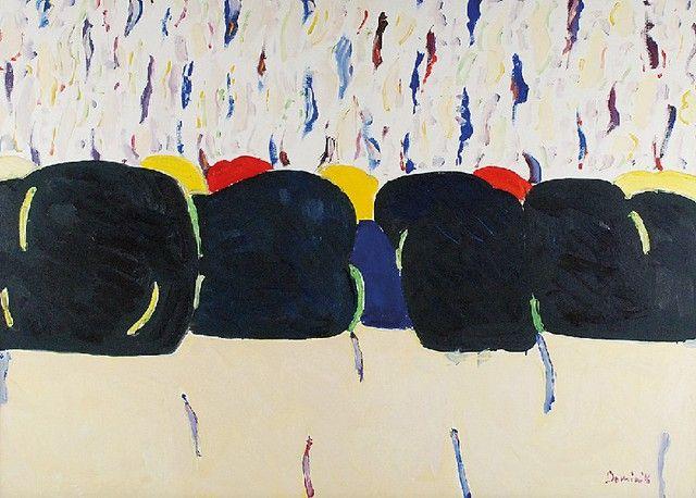 Tadeusz DOMINIK (1928-2014)  Pejzaż ok. 2004 akryl na podrysowaniu ołówkiem, płótno; 73 x 100 cm; sygn. p. d.: Dominik