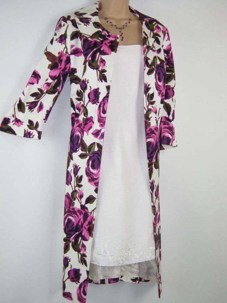 LAURA ASHLEY AMETHYST ROSE FLORAL 60 s STYLE LIGHT COAT, UK 12