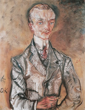 """""""Peter Altenberg, 1909,"""" by Oskar Kokoschka, oil on canvas, 29 7/8 by 28 1/8 inches, private collection, New York. Altenberg was a writer who was prominent in Viennese literary and cafe circles and he was known for his """"telegram-style"""" te"""