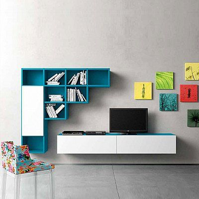 Bespoke Wall mounted TV media unit Blue by Morassutti, the the best way to define the contemporaneity of the room. Eclectic design provides uniqueness combined with sophistication and boldness