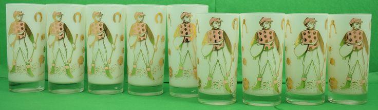 Set of (9) Pink Jockey Highball Glasses